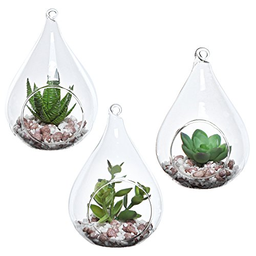 MyGift Set of 3 Teardrop Design Hanging Glass Faux Succulent Container Vases/Artificial Plant...