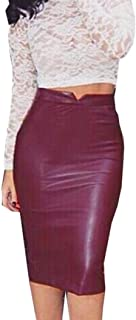 TOPUNDER Leather Skirt High Waist Slim Party Pencil Skirt for Women