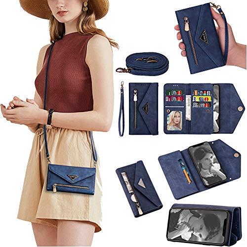 SEEYA - Funda para Mi Poco F2 Pro, funda de piel sintética de primera calidad, con cierre magnético, ranura para tarjeta, funda de teléfono con cremallera de cuerpo completo, color azul