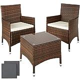 TecTake Conjunto muebles de Jardín en Aluminio y Poly Ratan Sintetico negro 2 plazas, 2 sillones, 1 mesa baja + 2 Set de fundas intercambiables, tornillos de acero inoxidable