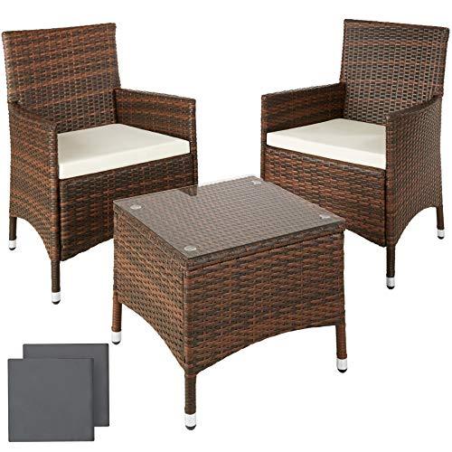 TecTake Salon de jardin Table de jardin en aluminium et poly rotin resine tressee chaises salon d'exterieur + deux set de housses, vis en acier inoxydable -diverses couleurs au choix- (Noir/Marron)
