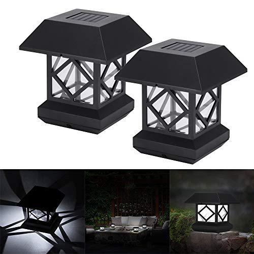 2pcs Solar Pfosten Leuchte, FORNORM Cool Weiß LED Pfostenkappe Solar Säulenlampe IP44 Wasserdicht Zaunpfosten Licht für Außen Terrasse Hof Deck