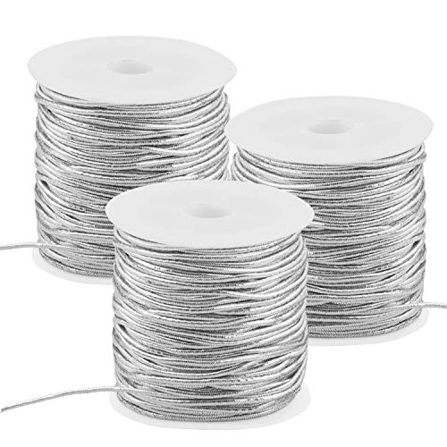 Metallic Elastic Cords Stretch Cord Ribbon,3 Roll 1 mm 82 Yards Metallic Tinsel Cord Rope for Craft Making Gift Wrapping,Christmas Gift Birthday Gift Wrapping Rope(Silver)