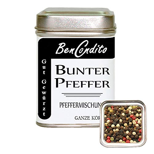 Bunter Pfeffer - Pfeffermischung mit Roter Beeren Pfeffer   Fa. BenCondito   80 Gramm in der Gewürzdose