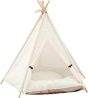 HEXLONG Tält husdjur tipi katt- och hundsäng med kudde kanvas bärbart tält för små och medelstora katter hundar kaniner
