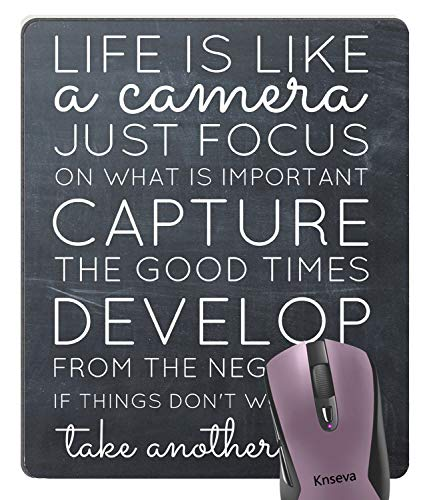 Knseva Inspirational Quotes on The Chalkboard Art Mouse Pad - Life is Like a Camera Motivational Quote About Life Mouse Pads