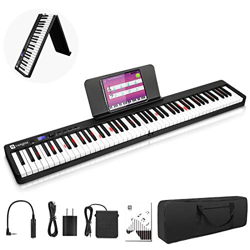 Vangoa Folding Piano Keyboard, Portable 88 Key Full Size Touch Sensitive Electric Keyboard Piano with Lighted Keys, Wireless Connection, Sustain Pedal and Handbag, Black