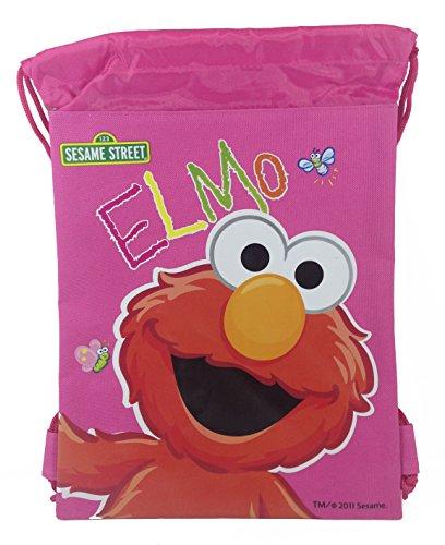 Sesame Street Elmo 10' X 14' Drawstring Backpack Heavy Duty Nylon Tote Bag Color (Baby Blue, Pink) (Pink)