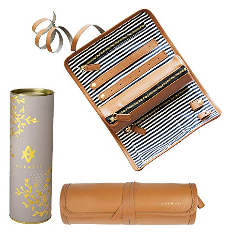 Travel Jewelry Organizer Roll Travel Jewelry Case For Women Portable Compact Foldable Storage for Necklace Ring Earring Makeup with Roll Bag  Space Saver Stylish Classy Design jewlwey holder