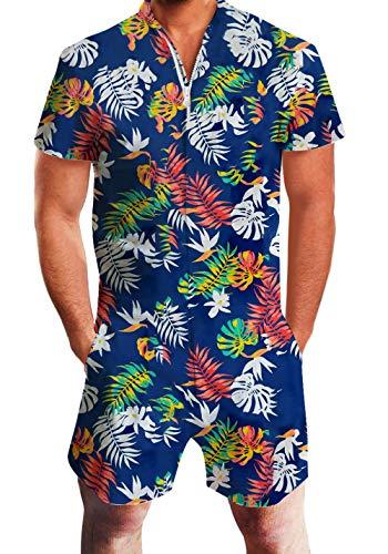 Fanient Herren Jumpsuit Grafik Overalls Sommer Shorts Strand Badehose Cargohosen Pants Strampler Outfits