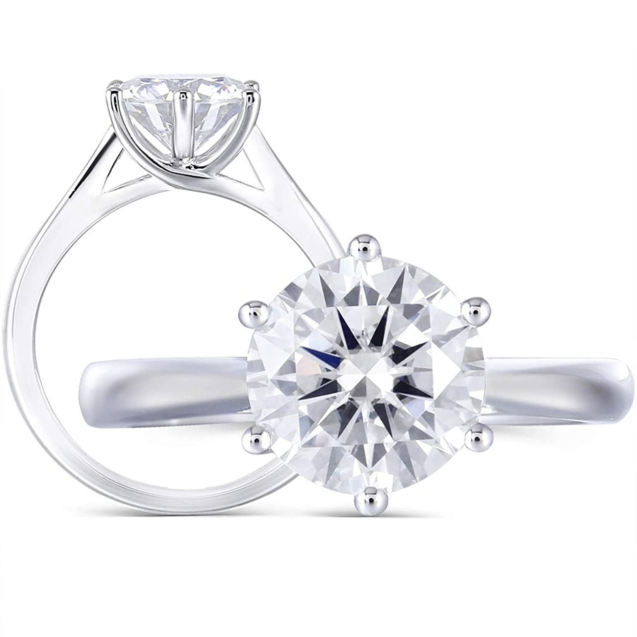 DovEggs Solid 14K White Gold 2ct 8MM H Color 2.8MM Width Round Moissanite Simulated Diamond Engagement Ring for Women