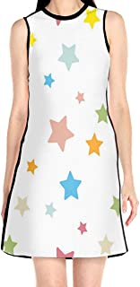 Women's Sleeveless Dress Multicolor Five-Pointed Star Fashion Casual Party Slim A-Line Dress Midi Tank Dresses