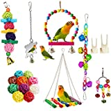 Bird Parrot Toys, <span class='highlight'><span class='highlight'>ESRISE</span></span> Hanging Bell Pet Bird Cage Hammock Swing Toy Wooden Perch Mirror Chewing Toy for Small Parrots, Conures, Love Birds, Small Parakeets Cockatiels (Muliti-F)