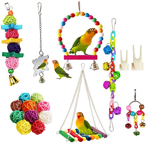 Bird Parrot Toys, ESRISE Hanging Bell Pet Bird Cage Hammock Swing Toy Wooden Perch Mirror Chewing Toy for Small Parrots, Conures, Love Birds, Small Parakeets Cockatiels (Muliti-F)