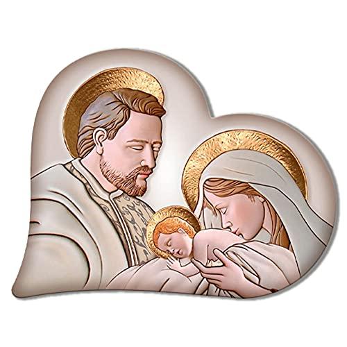 Lupia Capezzale Sacra Famiglia in Legno Heart The Kiss Ceramic 50X65 cm