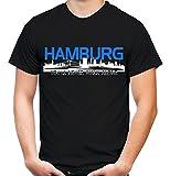 Hamburg Skyline Männer und Herren T-Shirt | Fussball Ultras Geschenk (XXL, Schwarz)