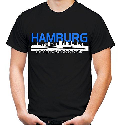 Hamburg Skyline Männer und Herren T-Shirt | Fussball Ultras Geschenk (XXXXL, Schwarz)