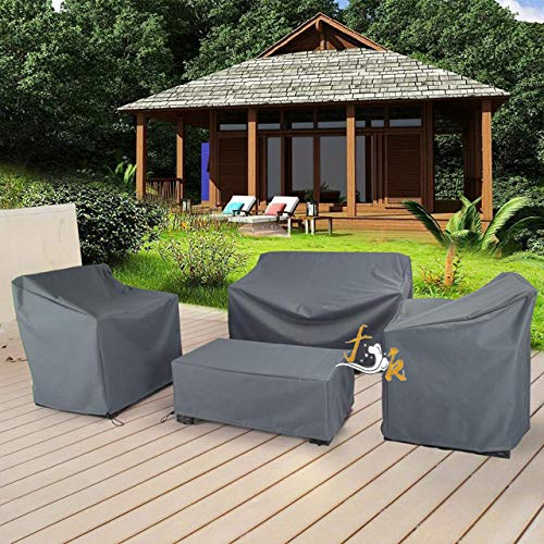 UOUNE Garden furniture covers 4 Piece Outdoor Veranda Patio Garden Furniture Cover Set with Durable and Water Resistant Fabric (Grey)