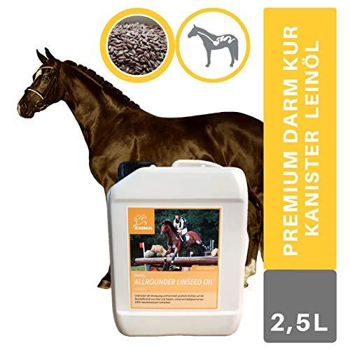 EMMA® Omega 3 Leinöl für Pferde I 100% rein Lein Öl I Leinoel Hunde I Leinsamen Öl glänzendes Fell aus Leinsamen geschrotet I Leinen-Öl kaltgepresst Pferd I Barf Öl I Ergänzung Tiere 2,5 L
