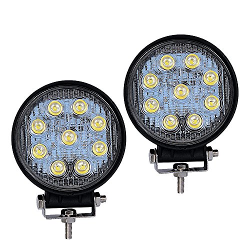 YITAMOTOR LED Light Bar 2PCS 4Inch 27W Round LED Work Light Pod Lights Spot Light Off Road Driving Light Fog Light Waterproof Truck Car ATV SUV Boat 4WD ATV 12V, 2 Years Warranty