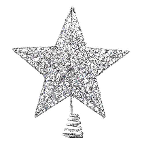 Gimsan Christmas Decorations, Christmas Tree Topper for Christmas Tree Decoration, Hollow Silver Sparkling Star Treetop for Christmas Decoration