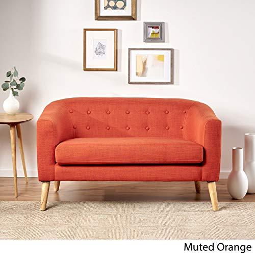 Christopher Knight Home Bridie Mid-Century Modern Loveseat, Muted Orange Fabric