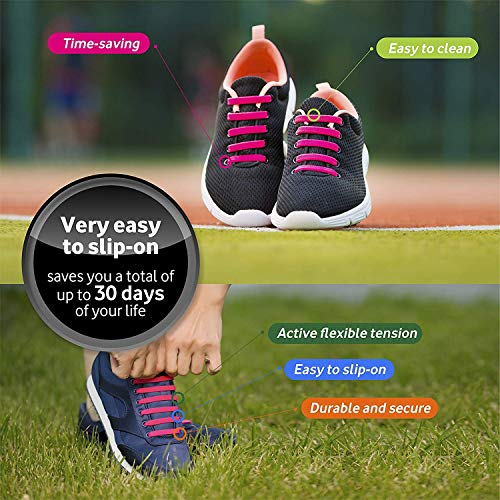 Diagonal One No Tie Shoelaces for Kids and Adults - Elastic Silicone Laces White