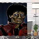 ZJMKFJL Michael Jackson Stoff Duschvorhang, Badezimmer 100prozent Polyester Wasserdicht Schimmelwiderstandsfähig, Badewanne Duschvorhang