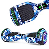 UNI-SUN Hoverboard for Kids, 6.5' Self Balancing Hoverboard with Bluetooth and LED Lights, Bluetooth Hover Board (Bluetooth Camo Blue)