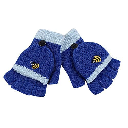 Goosuny Halbfinger Handschuhe mit Klappe Kappe Winter Kleinkind Baby Warme Cartoon Handschuhe Fünf Finger Fäustlinge Verdicken Mädchen Jungen Fahrradhandschuhe Winterhandschuhe 6-12 Jahre