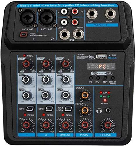 Depusheng U4 Console di missaggio audio Registrazione USB Bluetooth Riproduzione computer 48 V Ritardo alimentazione Phantom Effetto ripetizione 4 canali Mixer audio USB per registrazione PC, bande