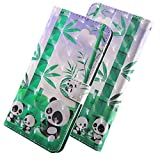 HMTECH Para LG K10 2017 Funda 3D Lindo Panda Flip PU Leather Wallet con Business Card Holder Stand Function Case Compatible with LG K10 2017,Litte Panda