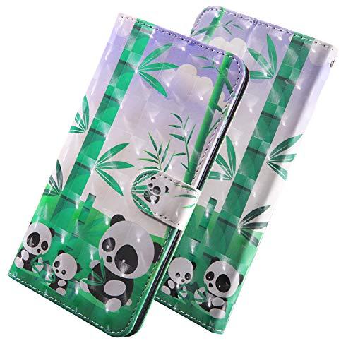 ShinyHülle PU Leder Handyhülle für LG Q7/Q7 Plus/Q7a Folio Tasche Glattes Muster Glitter 3D Bunt Brieftasche Wallet Flip Ledertasche im Brieftasche-Stil Panda-Familie Muster Handytasche für LG Q7