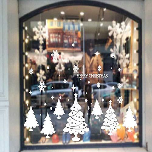HNIMLL - Adhesivo decorativo para pared, diseño de árbol blanco estático, con adornos, centro comercial, cristal de escaparate, adhesivo decorativo de cristal, se puede quitar (2 unidades)