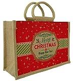 Merry Christmas sacchetto di iuta iuta naturale–Sacchetto regalo con un rosso Natale design & cotone corda maniglie (Medium–30x 12x 20cm alto)
