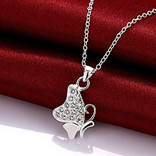 European and American Delicate Simulation Butterfly Silver Zircon Necklace Silver Plated Jewelry (Color : White) Girls Necklace (Color : White)