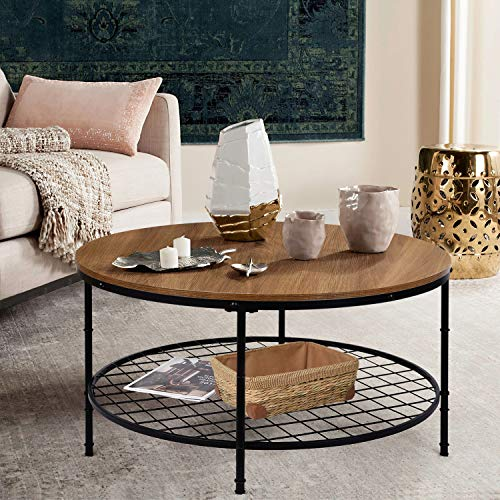 amzdeal Round Coffee Table Large 35.5', Industrial Accent Table with Storage Open Shelf and Sturdy Metal Frame, Easy Assembly (2-Tier)