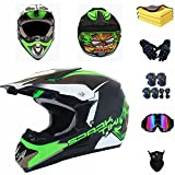 Casco de moto para niños, casco de motocross, casco de motocross con gafas, rodilleras y coderas, casco MTB ATV Cross Downhill, casco completo (L 58-59 cm)