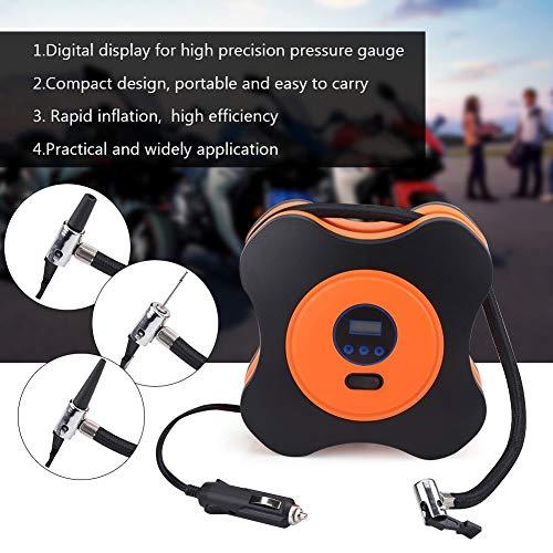 Gonfleur de pneu de voiture, pompe à pneu électrique à arrêt automatique, compresseur d'air 12V DC 150PSI avec lumière LED numérique LCD pour pneus de voiture/vélo/moto/balles de natation (orange)