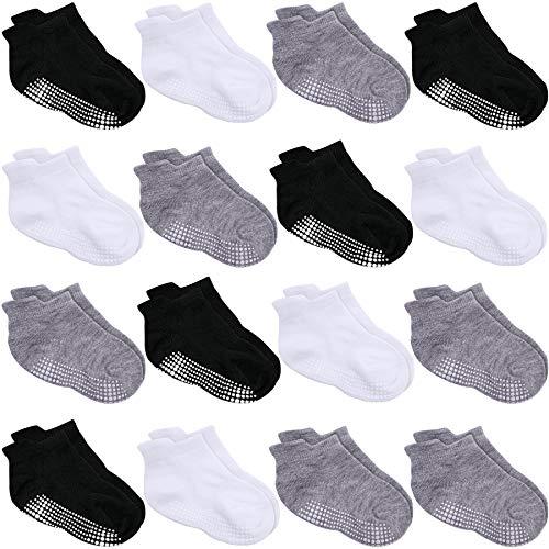 Duufin 16 Pares Calcetines Bebé Antideslizante Tobilleras Calcetines para Niña y Niño, Negro, Blanco, Gris, 4-6 Años