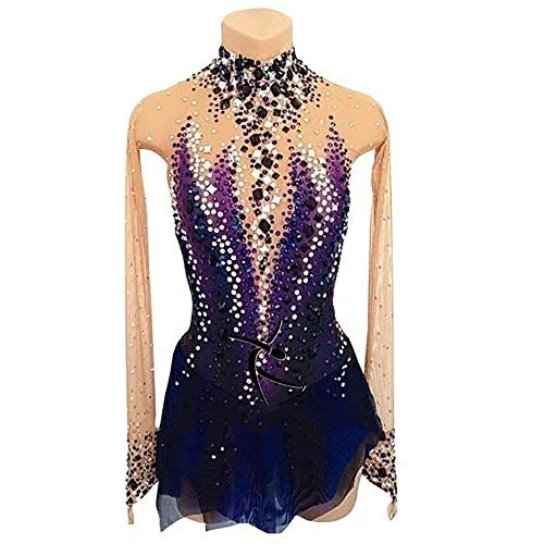 Rmckj-M Figure Skating Dress for Women Girls Handmade Purple Ice Skating Competition Costume with Crystals Long Sleeve Roller Skate Dress,Purple-S