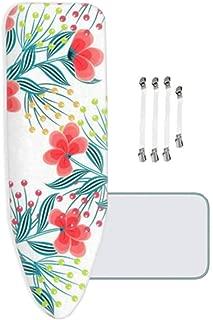 100/% Coton Fleur Rouge 144x52cm avec 4 Clips MKMKM Housse de Planche /à Repasser Extra /épaisse XL//XXL Ajustement Facile