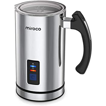Miroco Milk Frother, Electric Milk Steamer Stainless Steel, Automatic Hot and Cold Milk Frother Warmer with Heat Froth Whisks for Latte, Coffee, Hot Chocolates, Cappuccino, Heater with Strix Control