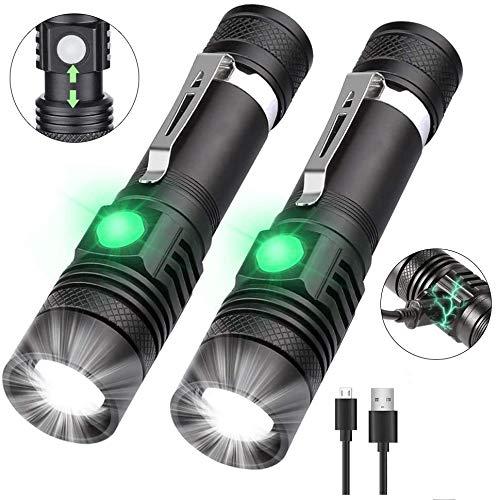 nobrand WENTINGLIN Mini Torcia LED Torce Super Bright Potente Funzione USB Ricaricabile ingrandire 10W T6 Torcia for Caccia Pesca [2 Pack]