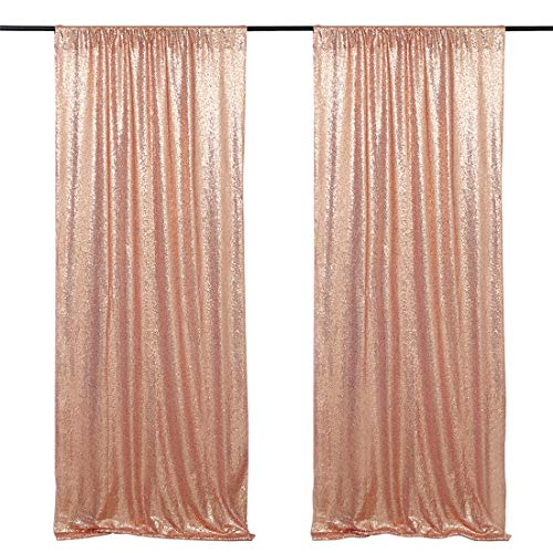 2 Pieces Photo Backdrop Curtain Panel 2ft x 8ft Rose Gold Curtain Fabric Stage Drape Arch Decorations
