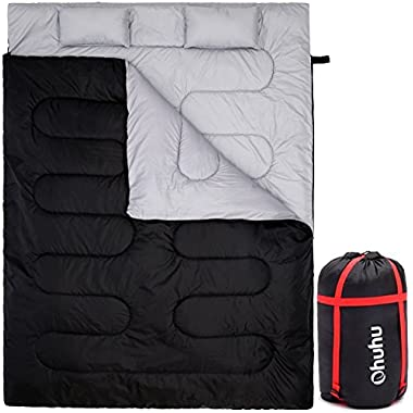 Ohuhu Double Sleeping Bag With 2 Pillows And A Carrying Bag, Waterproof Lightweight 2 Person Sleeping Adult Bag For Camping, Backpacking, Hiking