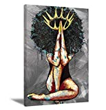 African American Portrait Black Queen Girl and Sunflowers Abstract Canvas Wall Art Contemporary Gray Paintings Giclee Matte Prints Home Decor for Bedroom Living Room(No Frame)