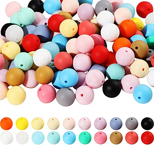 150 Pieces Silicone Beads Assorted Color Silicone Teething Beads DIY Silicone Teether Beads Kit Round Loose Baby Chewing Beads for Baby Nursing Chewing Accessory (15 mm)