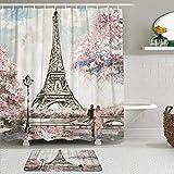 Juego de Cortinas y tapetes de Ducha de Tela,Torre Eiffel,Cortinas de baño repelentes al Agua con 12 Ganchos, alfombras Antideslizantes