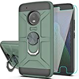 Moto G5 Plus Case,Moto X 2017 Case with HD Screen Protector YmhxcY 360 Degree Rotating Ring Kickstand Holder Dual Layers of Shockproof Phone Case For Motorola Moto G Plus(5th Generation)-ZS Dark Green